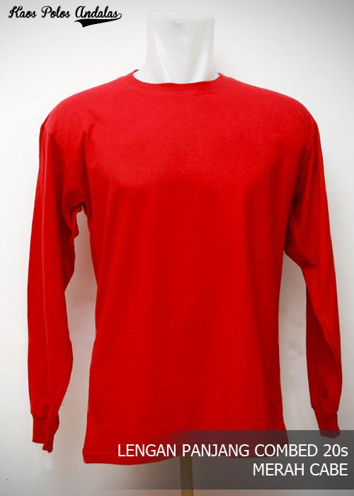 Kaos Polos Lengan Panjang Pendek Merah